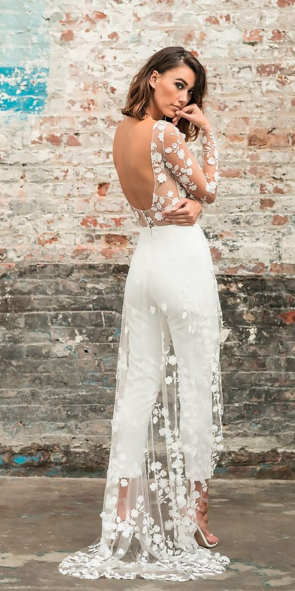 wedding-pantsuit-ideas-open-back-long-sleeves-with-train-rime-arodaky 150+ Bridal Fashion Trends and Ideas for Fall/winter 2020