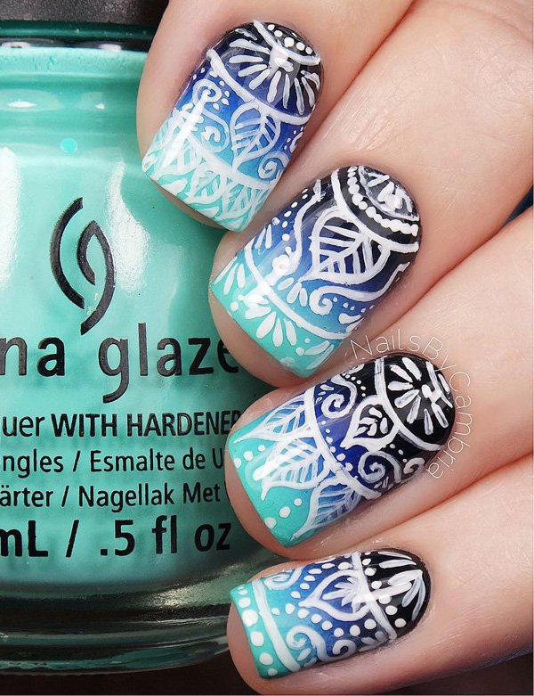 Blue-Tribal-Nail-Design 60+ Most Fabulous Winter Nail Design Ideas This Year