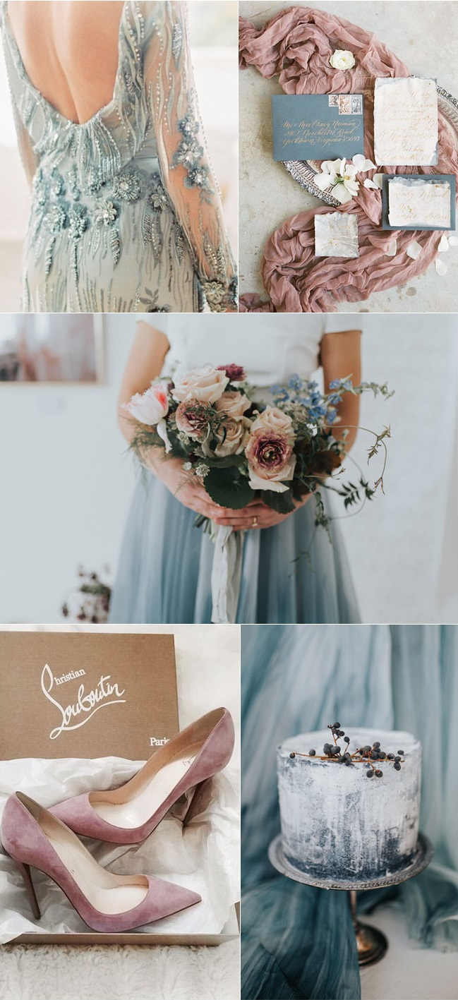Mauve-and-Dusty-Blue-Wedding-Color-Palette-1 Trend Forecasting: Top 15 Expected Wedding Color Ideas for 2020