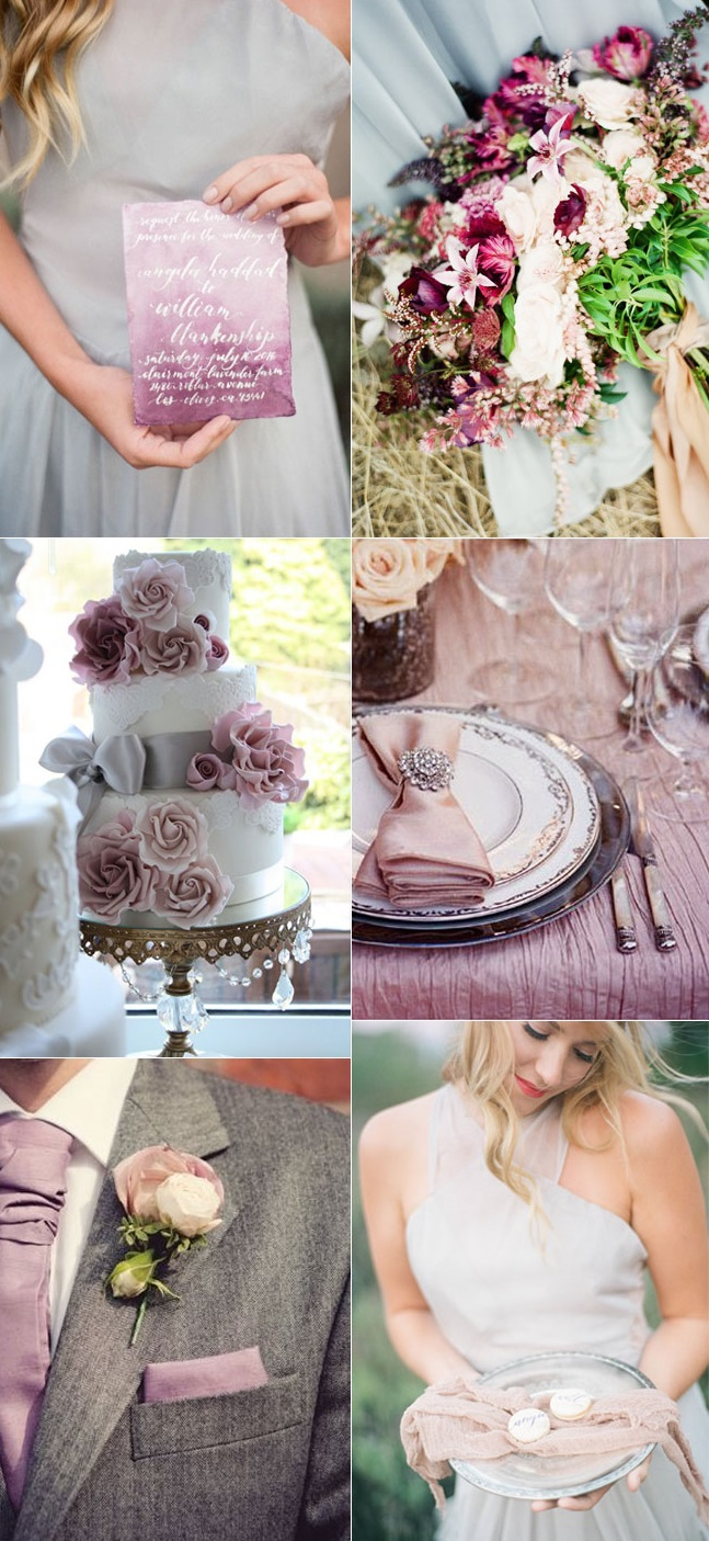 Mauve-and-Grey-Wedding-Color-Palette-1 Trend Forecasting: Top 15 Expected Wedding Color Ideas for 2019