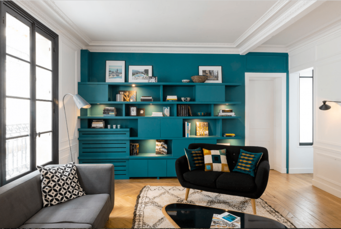 Teal-accent-wall-675x453 15 Outdated Home Decorating Trends Coming Back in 2019