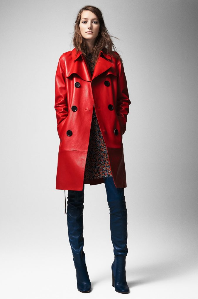 Womens-outfit-red-Leather-Coat-675x1016 70+ Elegant Winter Outfit Ideas for Business Women in 2019