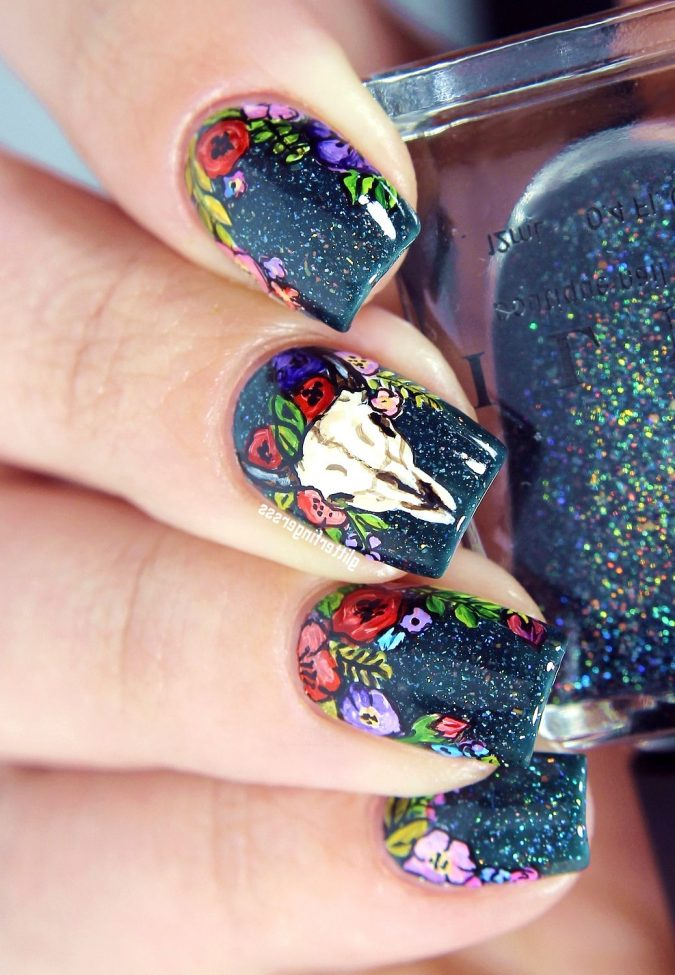 floral-nail-design-675x975 60+ Most Fabulous Winter Nail Design Ideas This Year