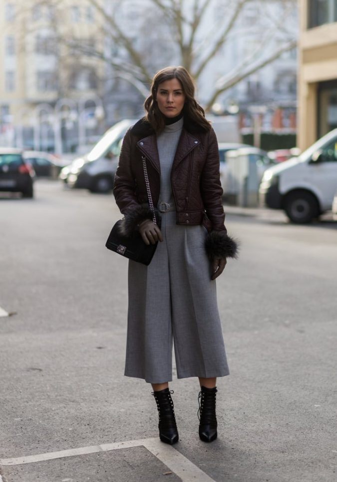 jumpsuit-with-leather-jacket-winter-outfit-2-675x965 70+ Elegant Winter Outfit Ideas for Business Women