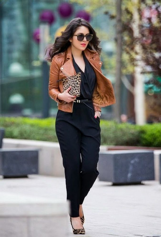 jumpsuit-with-leather-jacket-winter-outfit-675x989 70+ Elegant Winter Outfit Ideas for Business Women