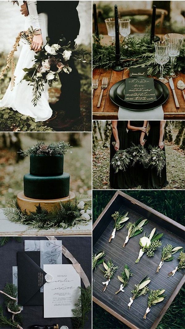 olive-and-black-winter-woodsy-wedding-color-ideas-1 Trend Forecasting: Top 15 Expected Wedding Color Ideas for 2021