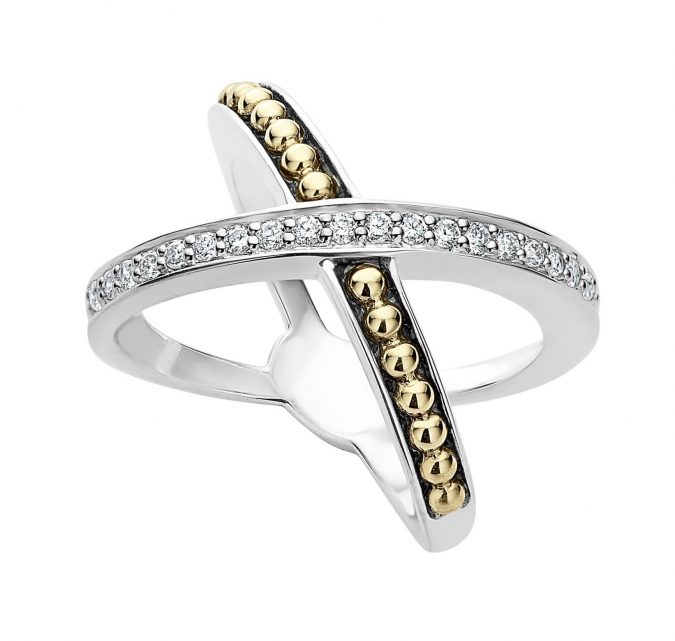 sterling-silver-ring-with-gold-and-diamond-Lagos-675x641 60+ Stellar Sterling Silver Rings for Women