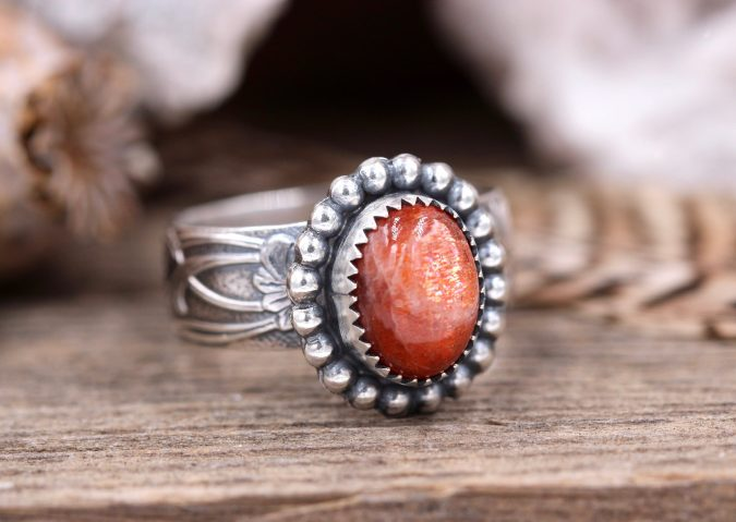 sterling-silver-ring-with-orange-stone-675x479 60+ Stellar Sterling Silver Rings for Women