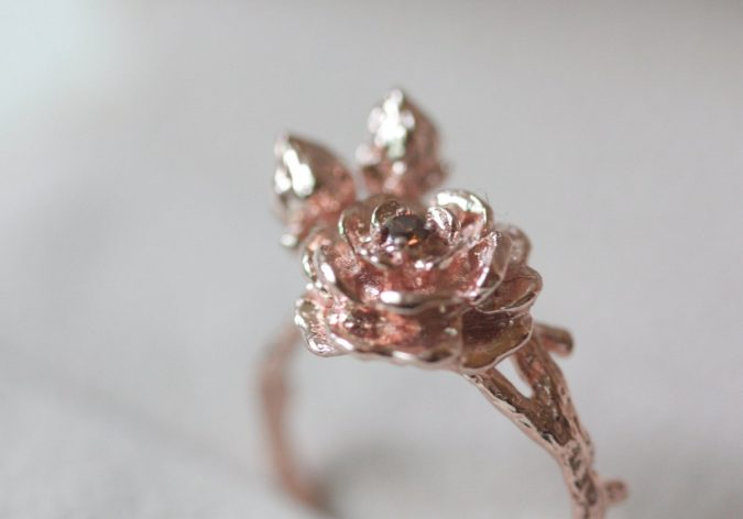 sterling-silver-ring-with-rose-gold-plate-675x472 60+ Stellar Sterling Silver Rings for Women