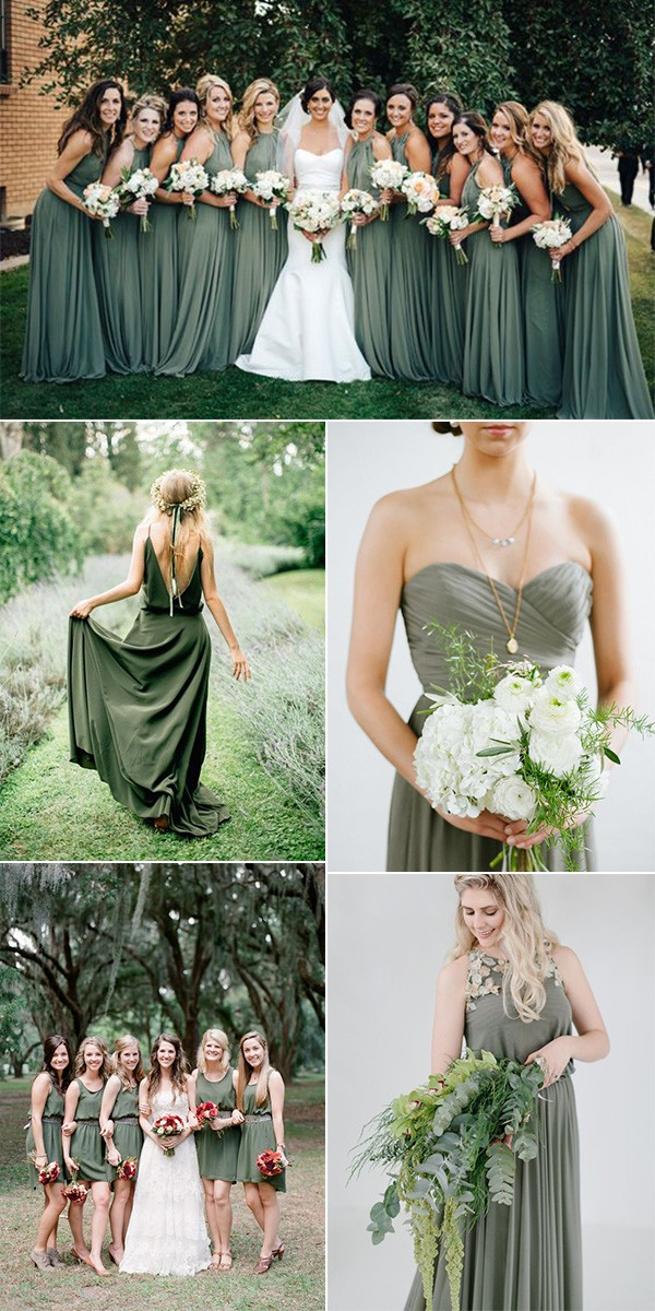 trending-olive-green-bridesmaid-dresses-1 Trend Forecasting: Top 15 Expected Wedding Color Ideas for 2019