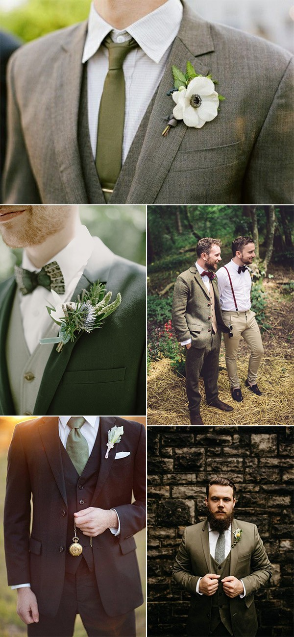 trending-olive-green-groom-attire-wedding-ideas Trend Forecasting: Top 15 Expected Wedding Color Ideas for 2019