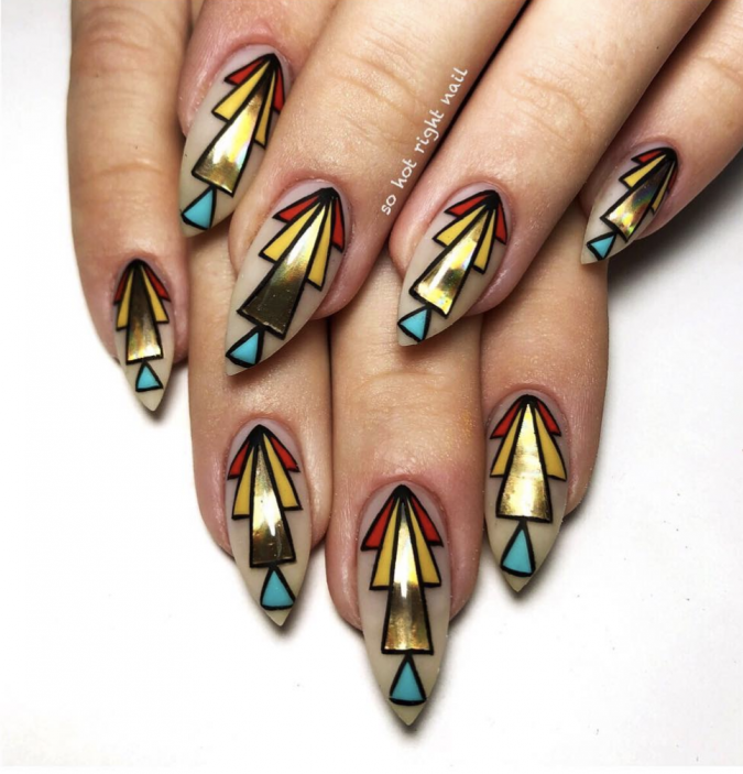 tribal-nail-design-675x703 60+ Most Fabulous Winter Nail Design Ideas This Year