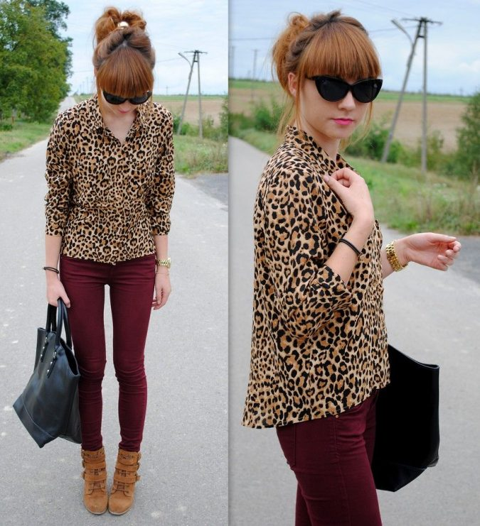 winter-outfit-Animal-print-top-and-colorful-bottom-675x741 70+ Elegant Winter Outfit Ideas for Business Women