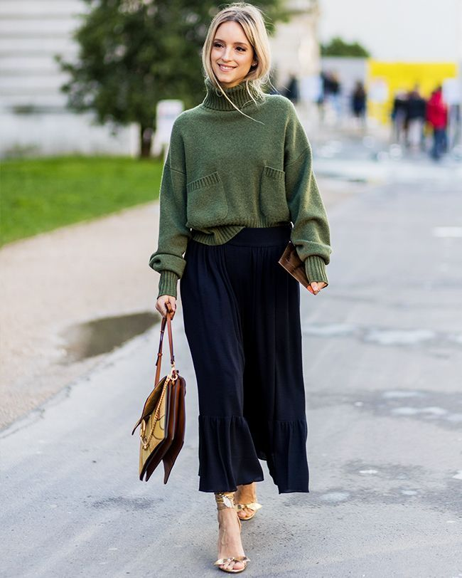 winter-outfit-Turtleneck-with-midi-skirt-7 70+ Elegant Winter Outfit Ideas for Business Women
