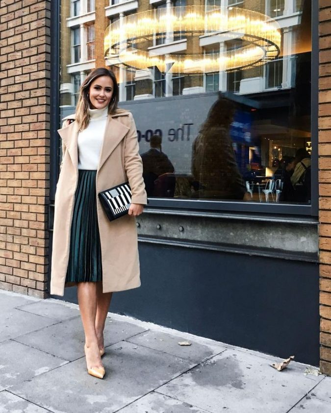 winter-outfit-Turtleneck-with-midi-skirt-and-coat-675x843 70+ Elegant Winter Outfit Ideas for Business Women in 2019