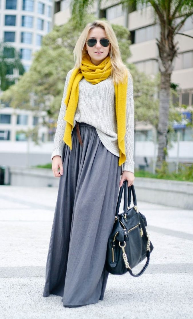 winter-outfit-with-yellow-scarf-675x1116 70+ Elegant Winter Outfit Ideas for Business Women in 2019