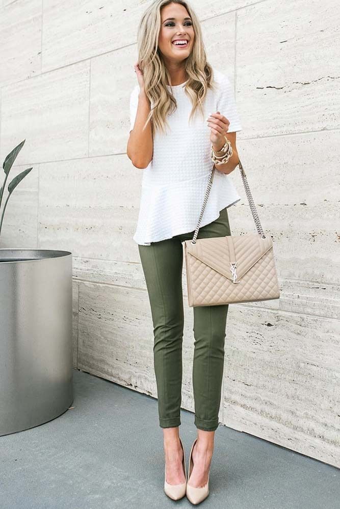 Summer-work-outfit-green-pants-white-shirt 80+ Elegant Summer Outfit Ideas for Business Women in 2019