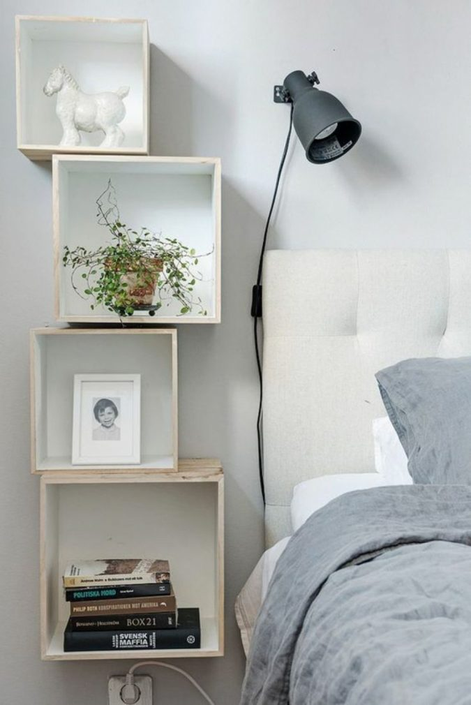 bedroom-decor-creative-nightstand-675x1010 20 Cheapest Bedroom Ideas to Make Your Space Look Expensive