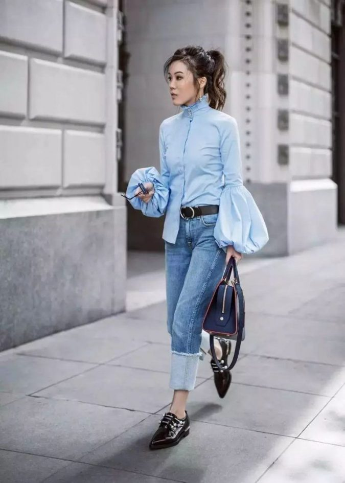 blue-monochrome-work-outfit-675x945 80+ Elegant Summer Outfit Ideas for Business Women in 2019