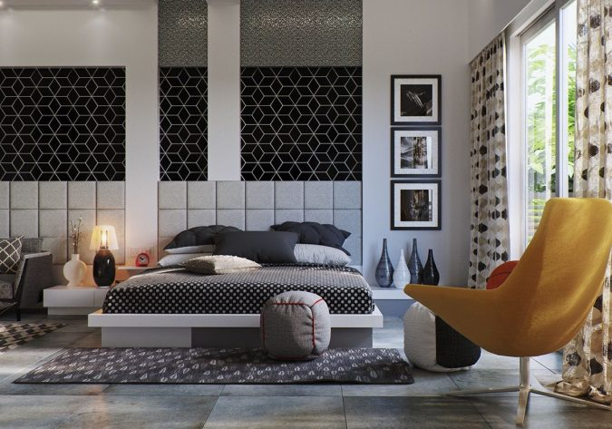 gray-bedroom-design-mustard-feature-chair-675x473 20 Cheapest Bedroom Ideas to Make Your Space Look Expensive