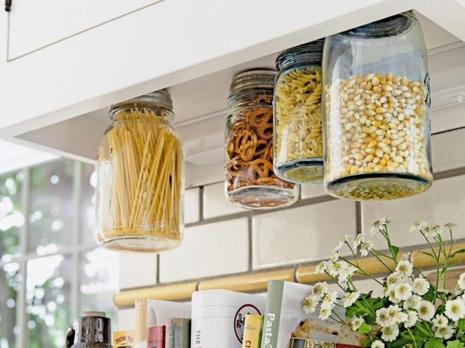 kitchen-decor-Hanging-Glass-Mason-Jars-Storage-675x506 Top 18 Creative Kitchen Decoration Tricks No One Told You About
