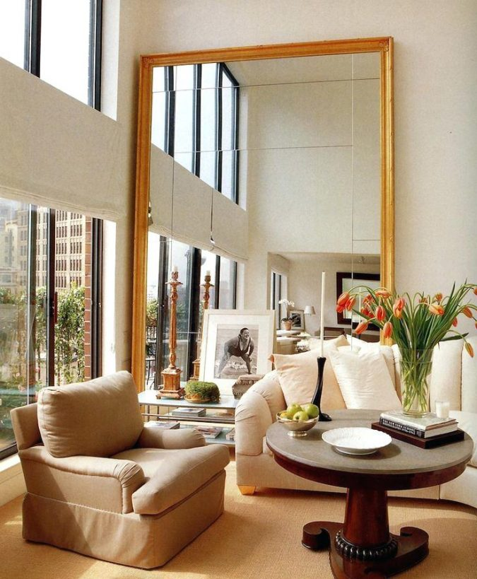 small-living-room-with-golden-framed-mirror-675x819 Best 14 Tips to Follow When Planning a Small Living Room