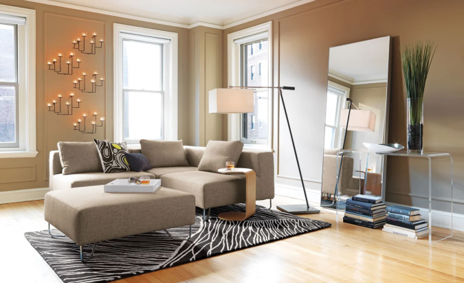 small-living-room-with-mirror-2-675x412 Best 14 Tips to Follow When Planning a Small Living Room