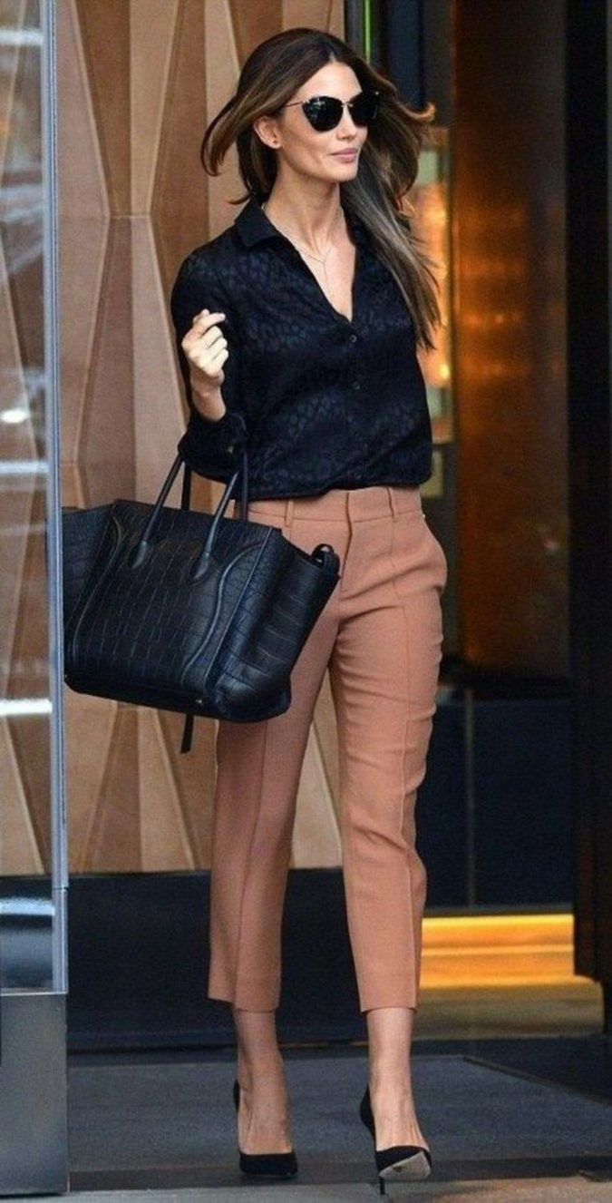 summer-work-outfit-black-shirt-and-beige-pants-1-675x1326 80+ Elegant Summer Outfit Ideas for Business Women in 2019