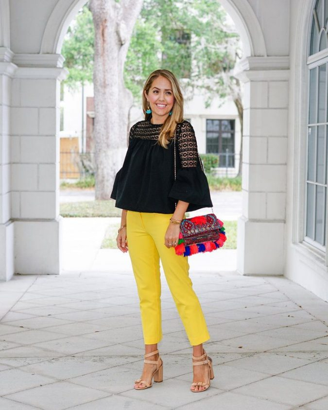 summer-work-outfit-black-top-yellow-pants-675x843 80+ Elegant Summer Outfit Ideas for Business Women in 2019