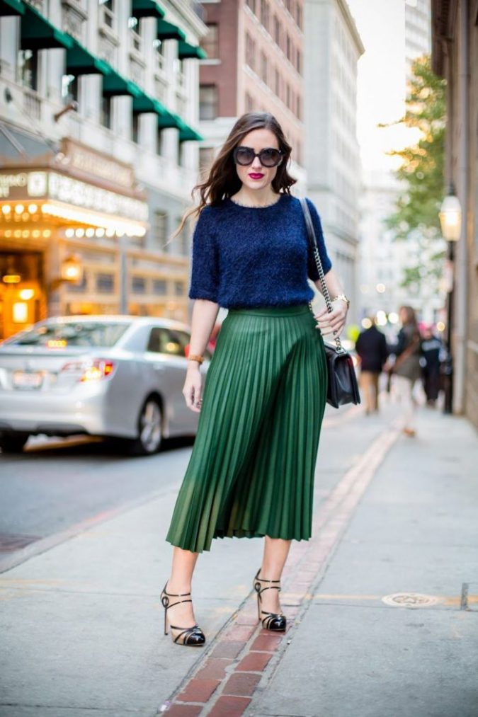 summer-work-outfit-blue-top-green-skirt-675x1013 80+ Elegant Summer Outfit Ideas for Business Women in 2019