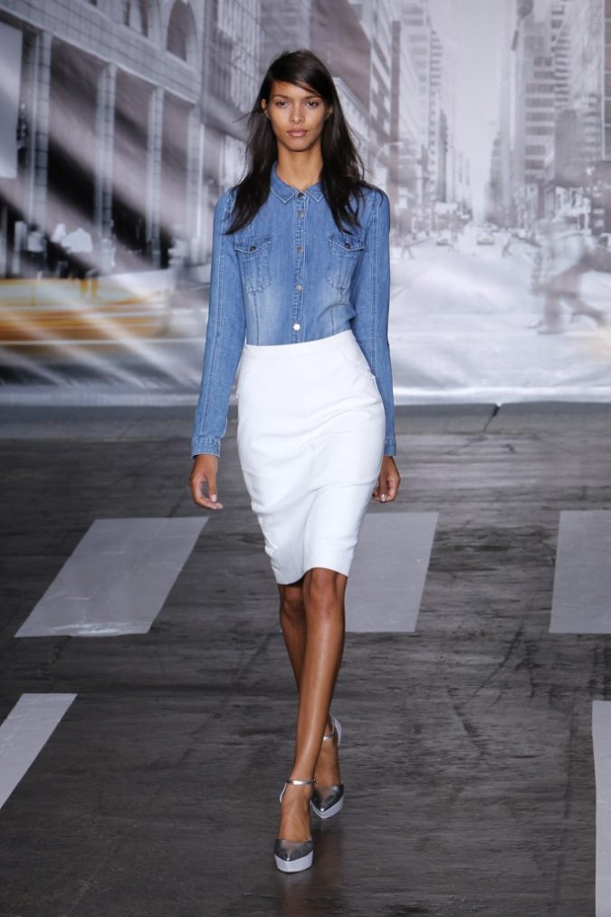 summer-work-outfit-denim-shirt-white-skirt-675x1012 80+ Elegant Summer Outfit Ideas for Business Women in 2019