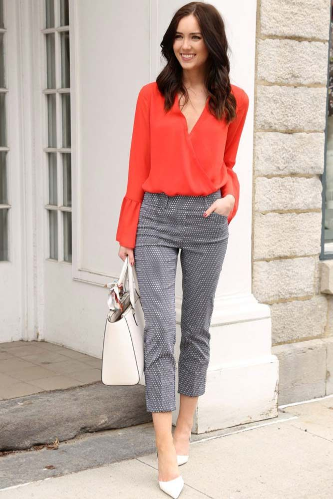summer-work-outfit-grey-pants-orange-shirt 80+ Elegant Summer Outfit Ideas for Business Women