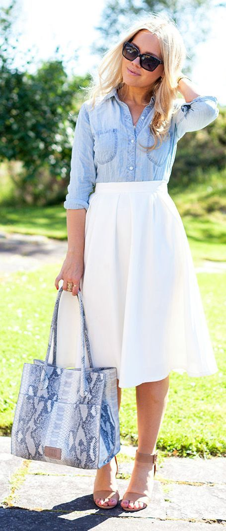 summer-work-outfit-jeans-shirt-and-white-skirt 80+ Elegant Summer Outfit Ideas for Business Women in 2019