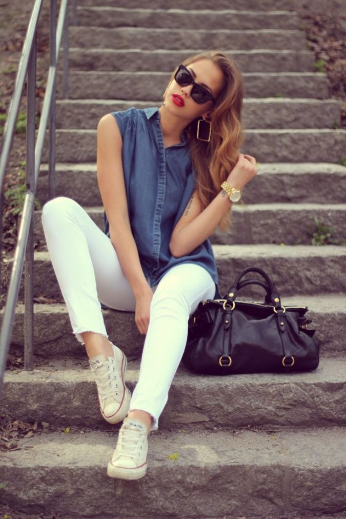 summer-work-outfit-jeans-shirt-white-pants-2-675x1012 80+ Elegant Summer Outfit Ideas for Business Women in 2019