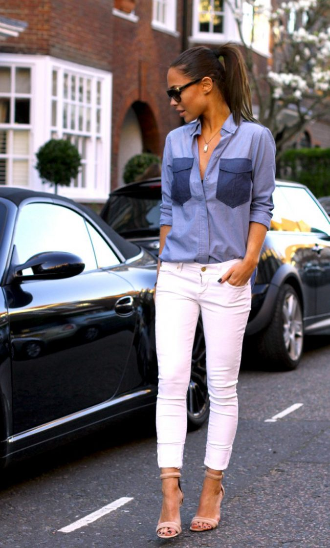 summer-work-outfit-jeans-shirt-white-pants-675x1121 80+ Elegant Summer Outfit Ideas for Business Women