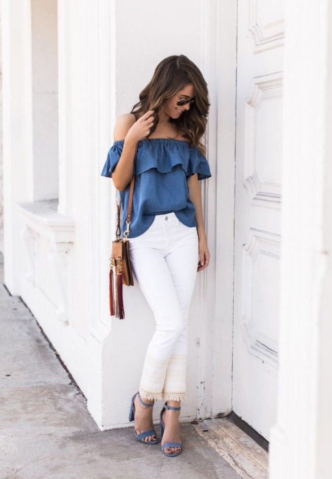 summer-work-outfit-jeans-top-white-pants-675x975 80+ Elegant Summer Outfit Ideas for Business Women in 2019