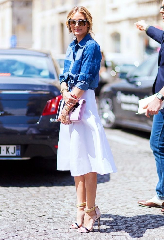 summer-work-outfit-jeans-top-white-skirt-675x989 80+ Elegant Summer Outfit Ideas for Business Women