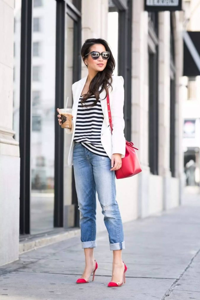 summer-work-outfit-jeans-white-blazer-675x1013 80+ Elegant Summer Outfit Ideas for Business Women in 2019