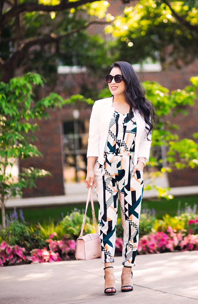 summer-work-outfit-jumpsuit-and-blazer-675x1034 80+ Elegant Summer Outfit Ideas for Business Women