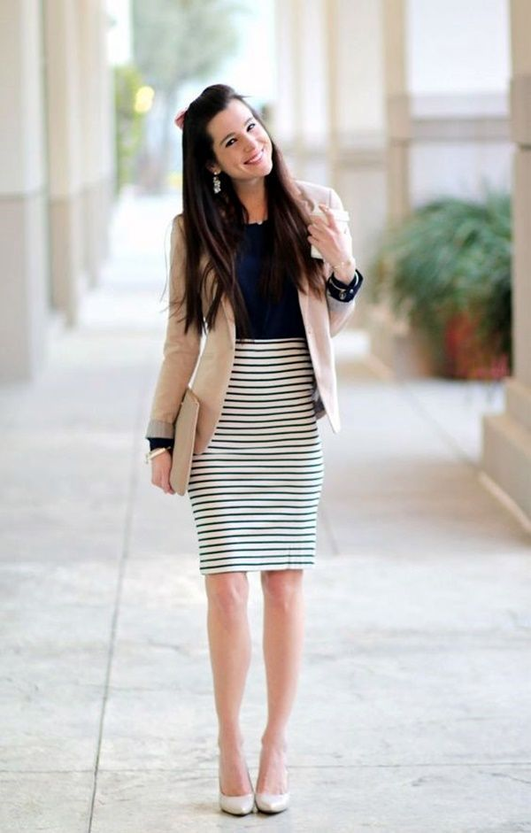 summer-work-outfit-striped-skirt-blue-shirt-blazer 80+ Elegant Summer Outfit Ideas for Business Women