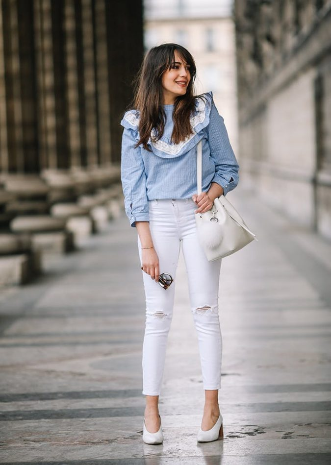 summer-work-outfit-white-pants-blue-shirt-675x949 80+ Elegant Summer Outfit Ideas for Business Women