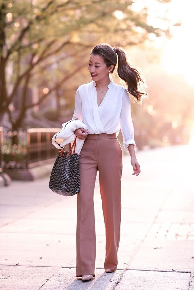 summer-work-outfit-white-shirt-pink-pants 80+ Elegant Summer Outfit Ideas for Business Women in 2019