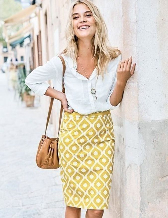 summer-work-outfit-white-shirt-printed-yellow-skirt-675x873 80+ Elegant Summer Outfit Ideas for Business Women in 2019