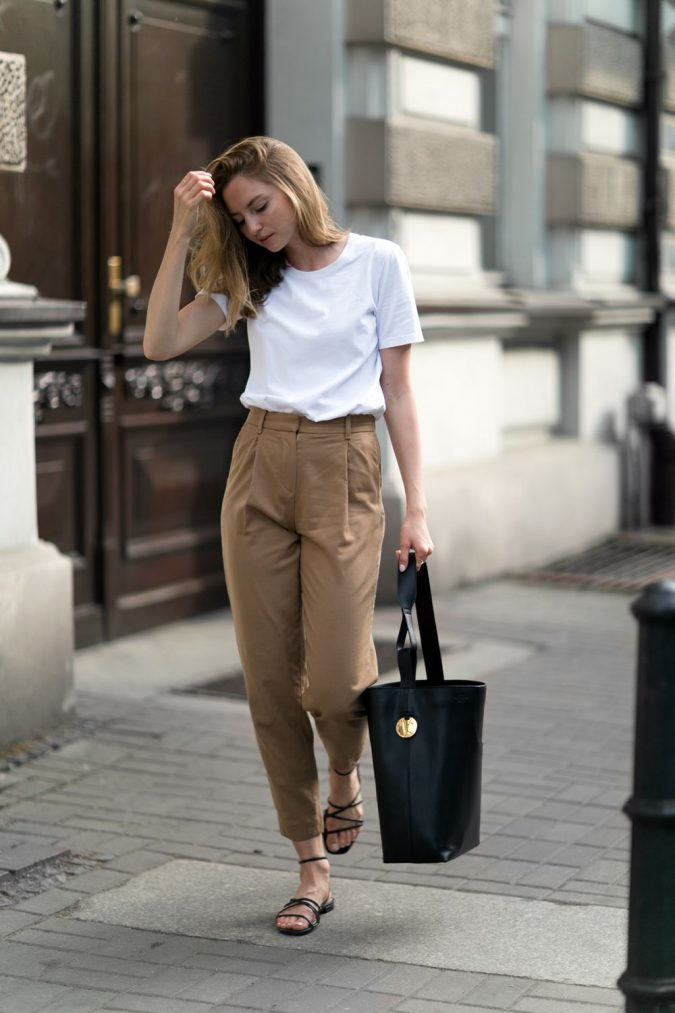 summer-work-outfit-white-t-shirt-and-beige-pants-675x1013 80+ Elegant Summer Outfit Ideas for Business Women in 2019