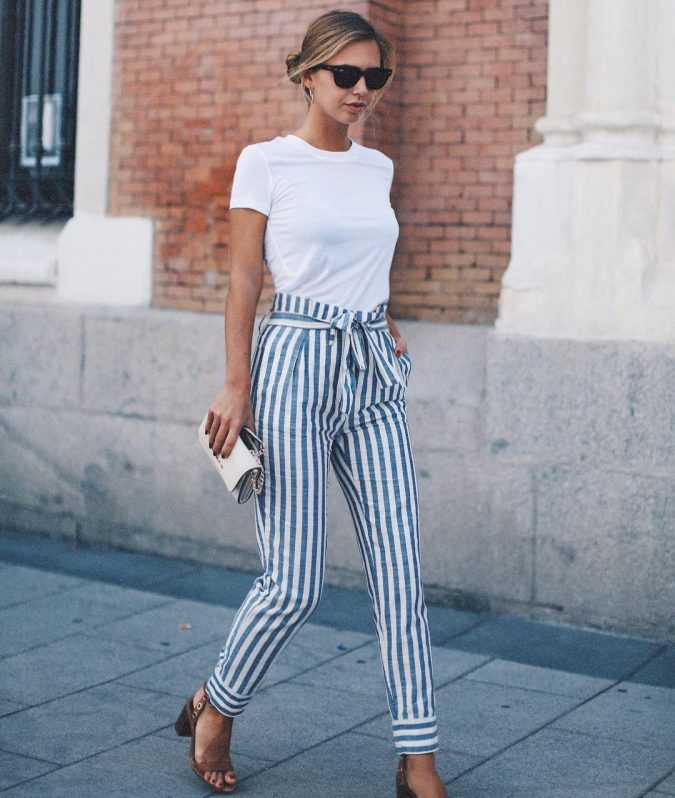 summer-work-outfit-with-stripped-pants-675x798 80+ Elegant Summer Outfit Ideas for Business Women