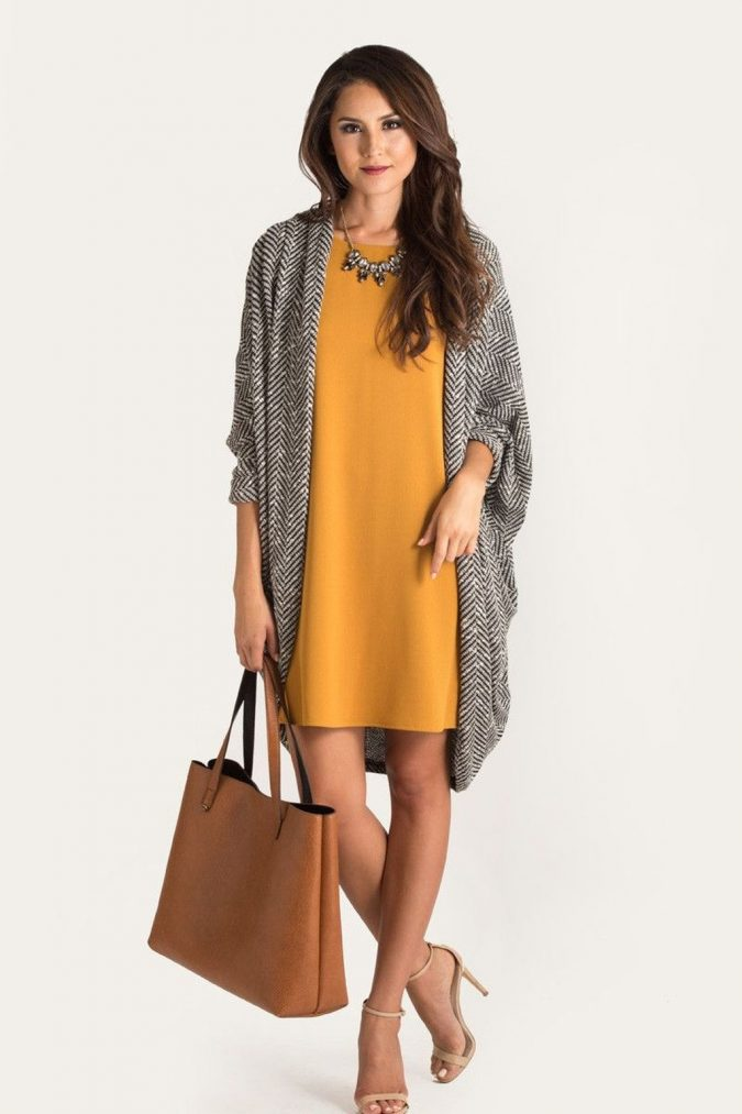 summer-work-outfit-yellow-dress-with-cardigan-675x1013 80+ Elegant Summer Outfit Ideas for Business Women