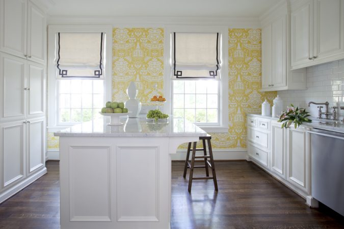 white-kitchen-with-wallpaper-675x449 Top 18 Creative Kitchen Decoration Tricks No One Told You About