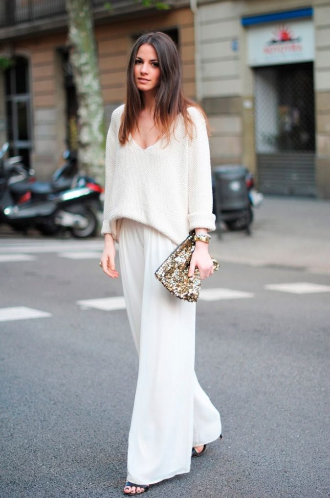 sequin-clutch-with-white-outfit-675x1016 20 Most Stylish Female Celebrities Fashion Trends 2020