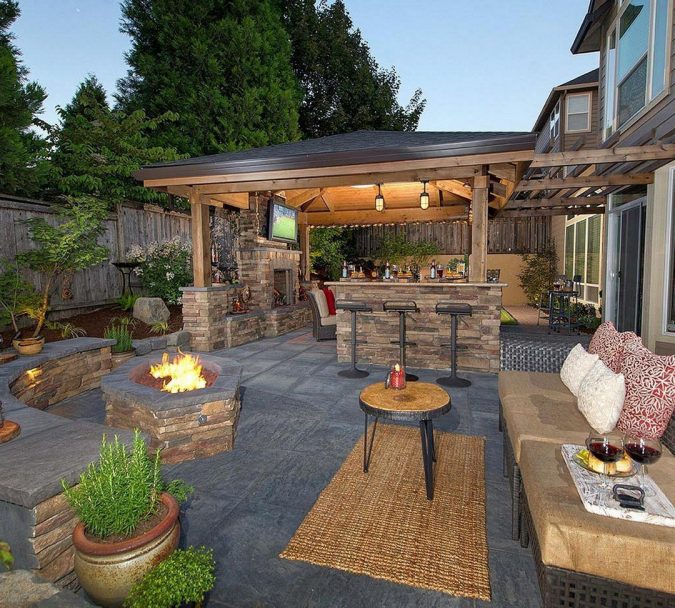 Backyard-Outdoor-Bar-with-Fire-Pit-1-675x608 Living a More Comfortable Outdoor Lifestyle