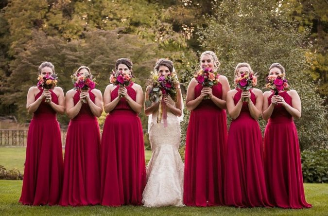 bride-and-bridemaids-2-675x444 5 Important Considerations to Make Before Buying Your Wedding Dress